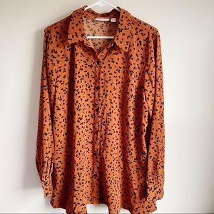 Susan Graver Orange Patterned Button Front Blouse